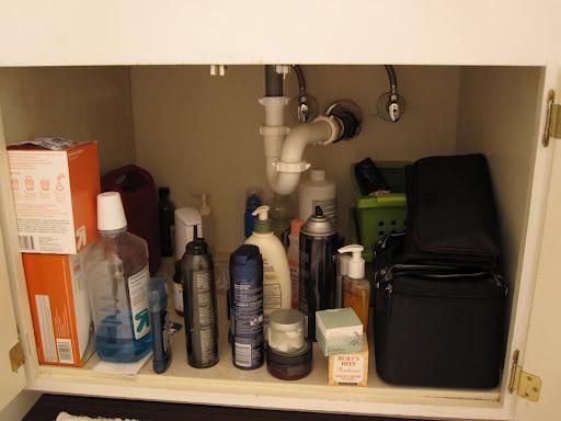 clutter under bathroom sink