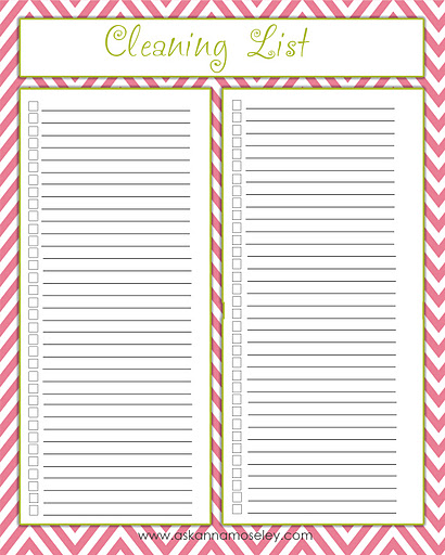 Cleaning Checklist Printables  Ask Anna