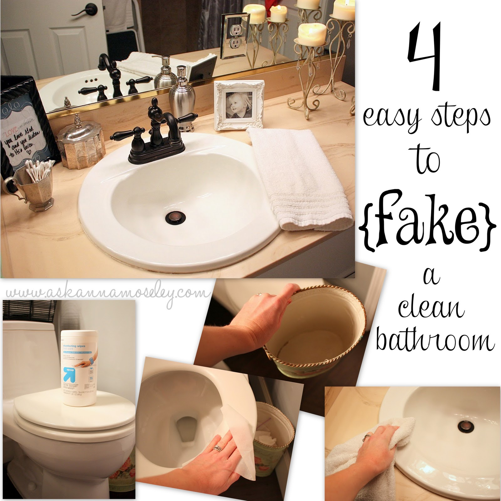 Day #4: How to {fake} a Clean Bathroom (Quick Cleaning Tips)