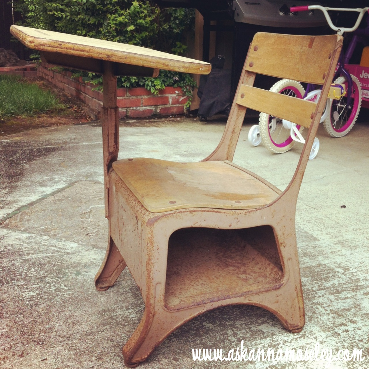 Vintage School Desk Makeover - Ask Anna