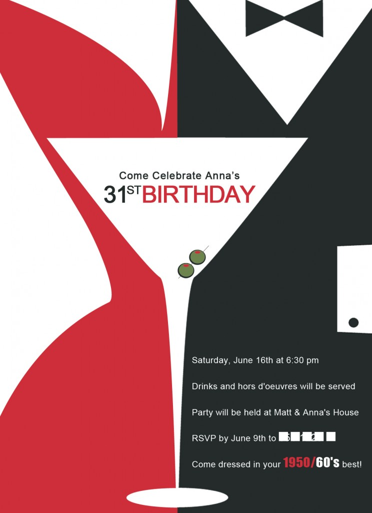 Mad Men Birthday Party Ask Anna – Birthday Invitations for Men
