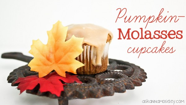 These pumpkin molasses cupcakes with a caramel glaze are sure to be a hit this Fall! They are the perfect combination of Fall flavors and sweet goodness. | Ask Anna