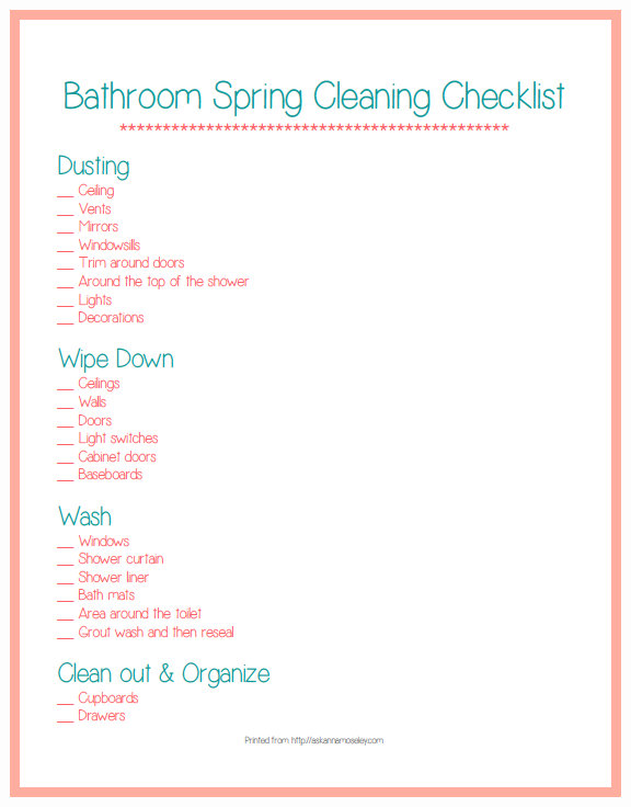 Beautiful Printable Spring Cleaning List For The Bathroom, Everything You Need To  Know To Get Your