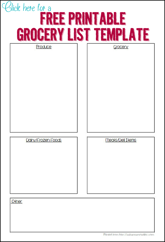 Printable Grocery Template   Ask Anna  Free Printable Grocery List Template