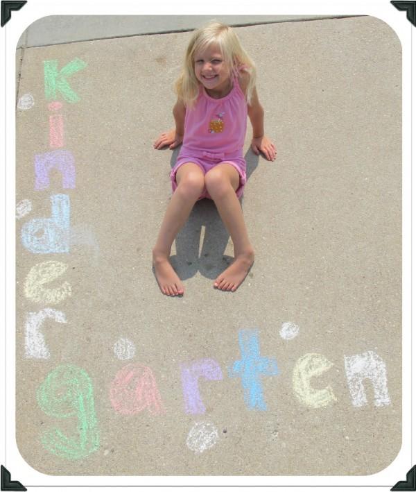 1st day of school, sidewalk chalk