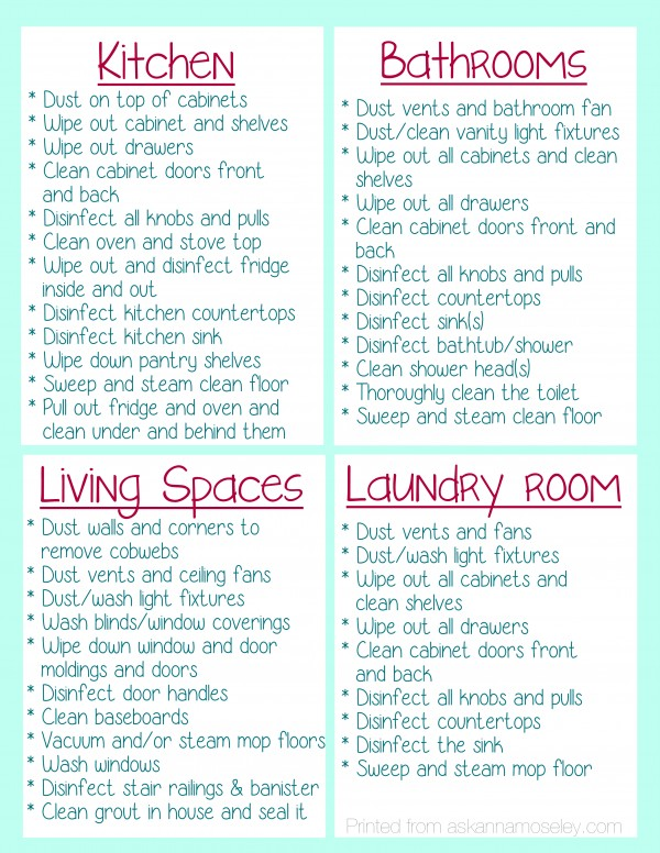 Clean Your House Before You Move In Printable Version