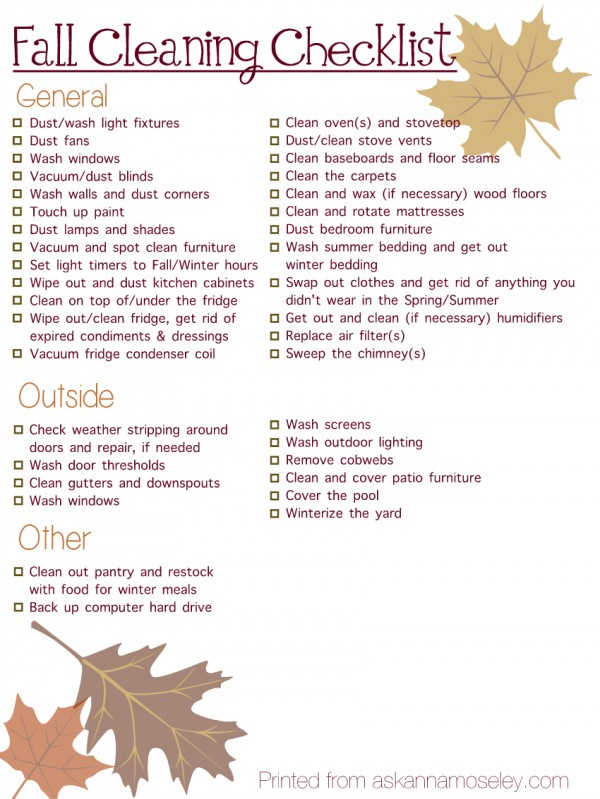 fall cleaning checklist ask anna