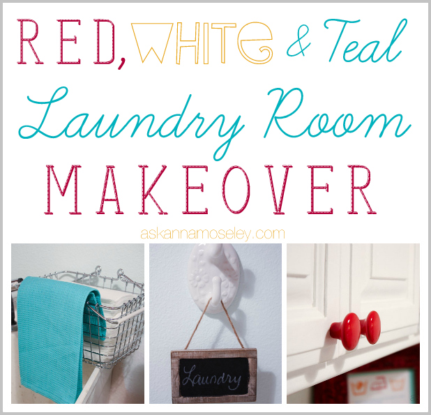 Red White And Teal Laundry Room Makeover Ask Anna