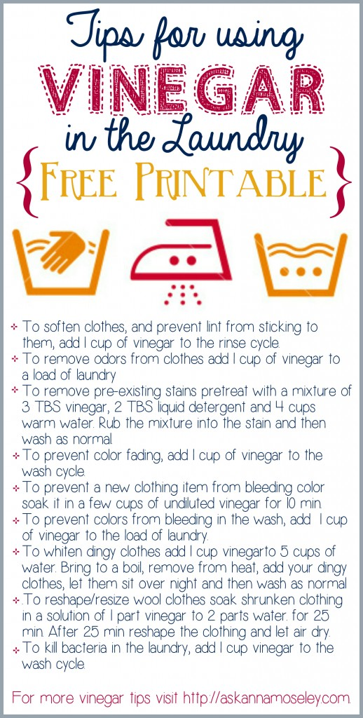 Vinegar Tips Laundry And A Free Printable Ask Anna