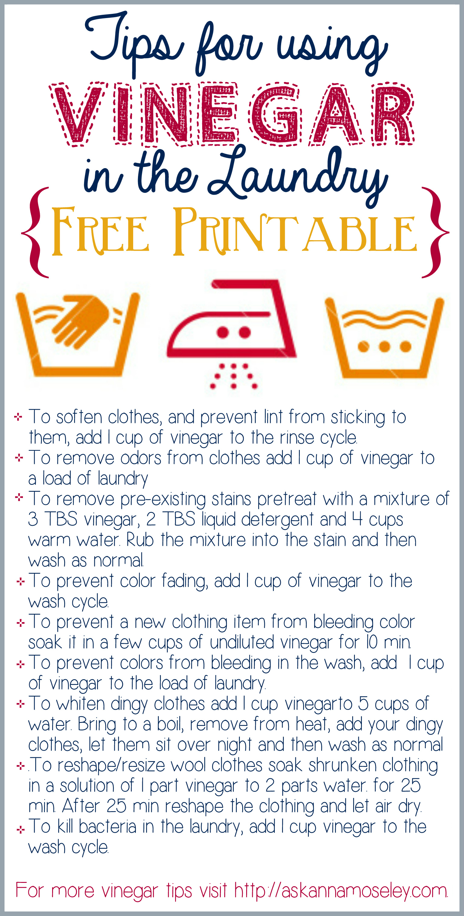 Tips for using Vinegar in the Laundry {free printable} - Ask Anna