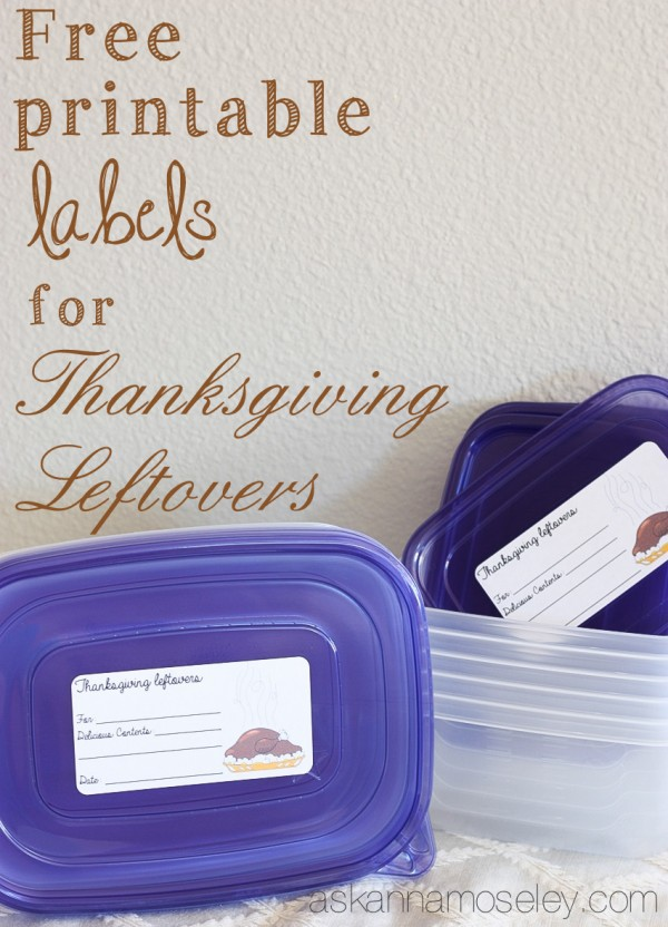 Thanksgiving leftover labels {FREE Printable} - Ask Anna
