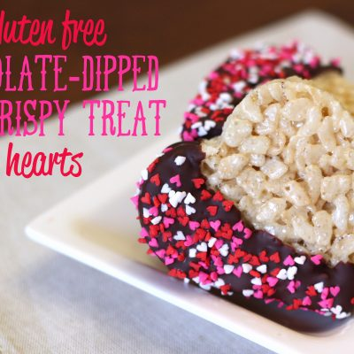 Gluten Free Chocolate-Dipped Rice Crispy Treat Hearts