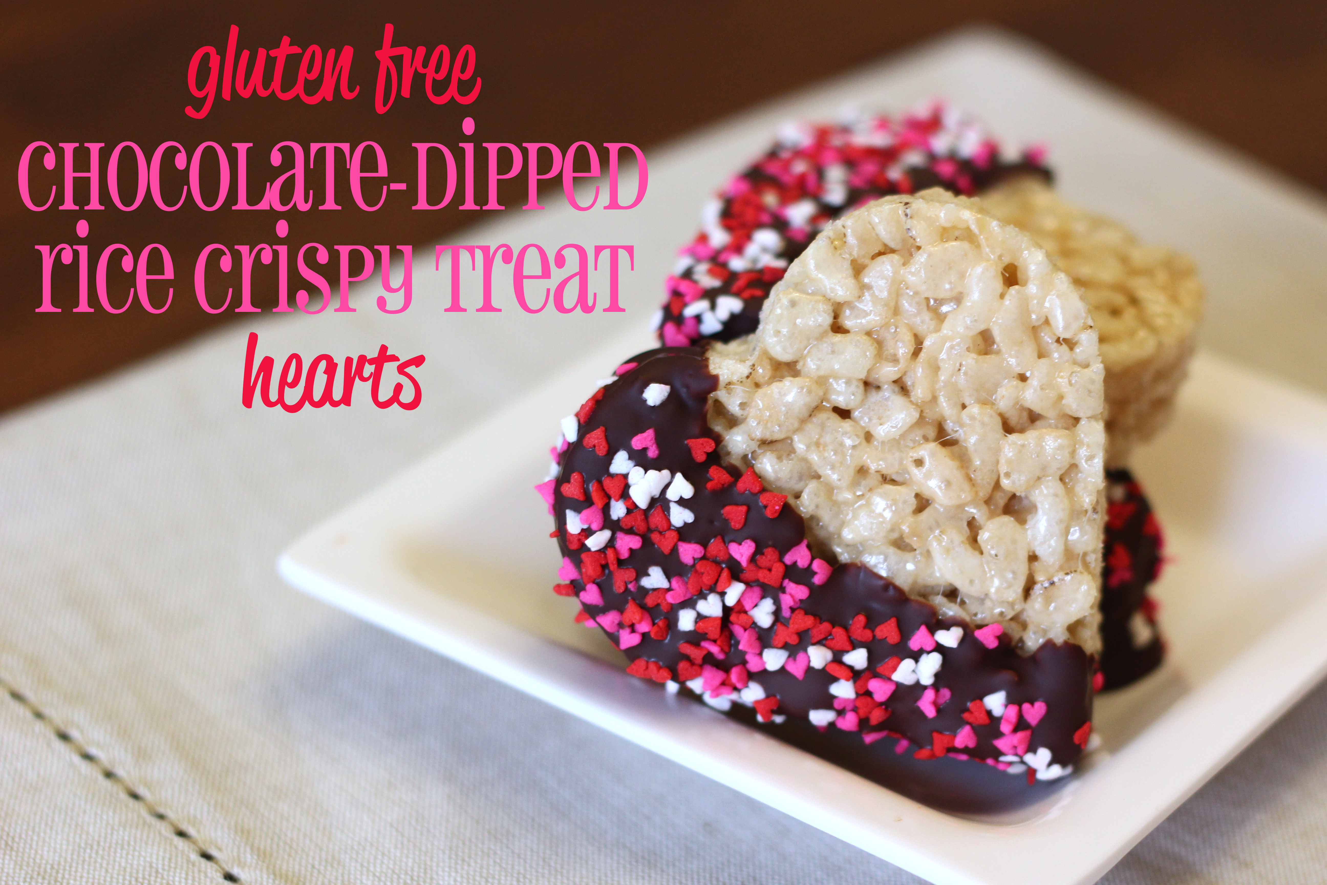 Gluten Free Chocolate Dipped Rice Crispy Treat Hearts
