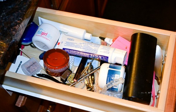How to organize a makeup drawer (before picture) - Ask Anna
