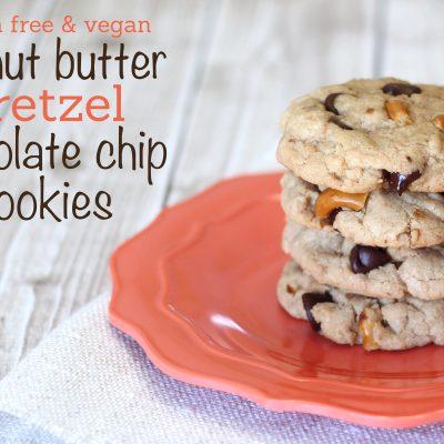 Peanut Butter Pretzel Chocolate Chip Cookies (Gluten Free & Vegan)