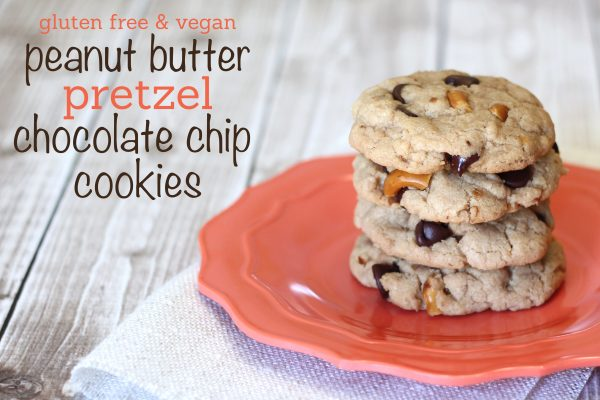 Gluten free and vegan peanut butter chocolate chip pretzel cookies - Ask Anna