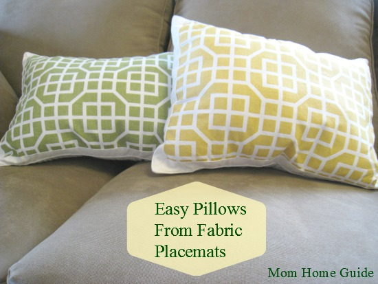 DIY pillows made from placemats