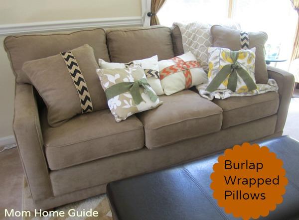 Burlap wrapped fall pillows