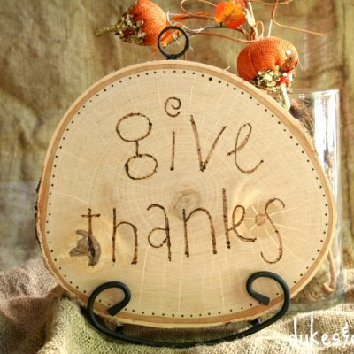 """Give Thanks"" Wood Burned Plaque"