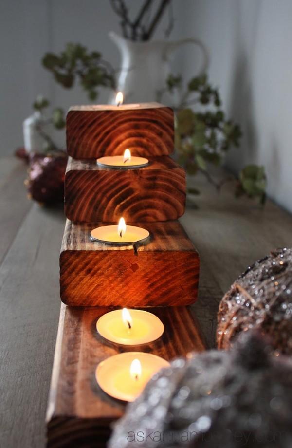 DIY rustic Christmas tree tealight holder {tutorial} - Ask Anna