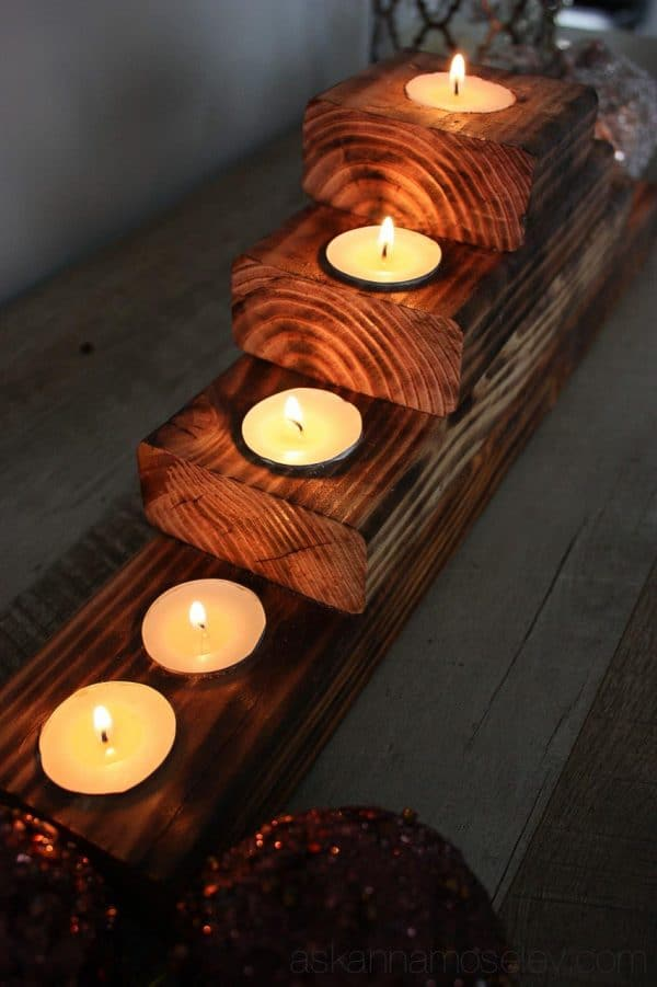 DIY rustic Christmas tree tealight holder {tutorial} - Ask Anna
