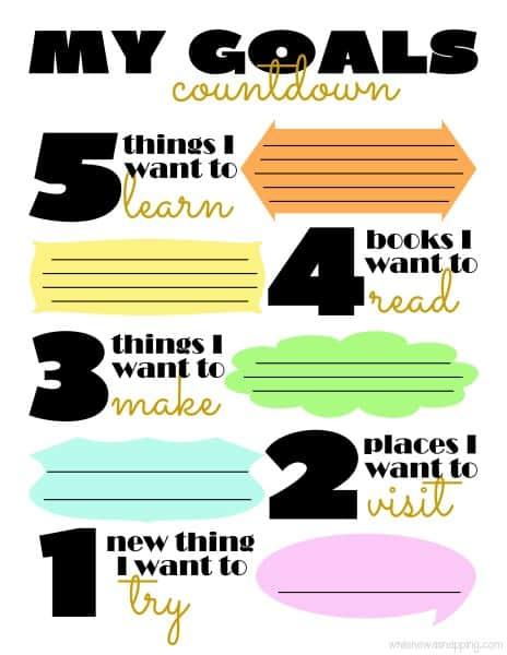 My goals printable