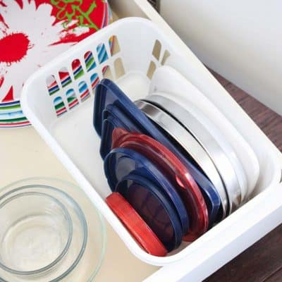 The Easiest way to Organize Tupperware Lids