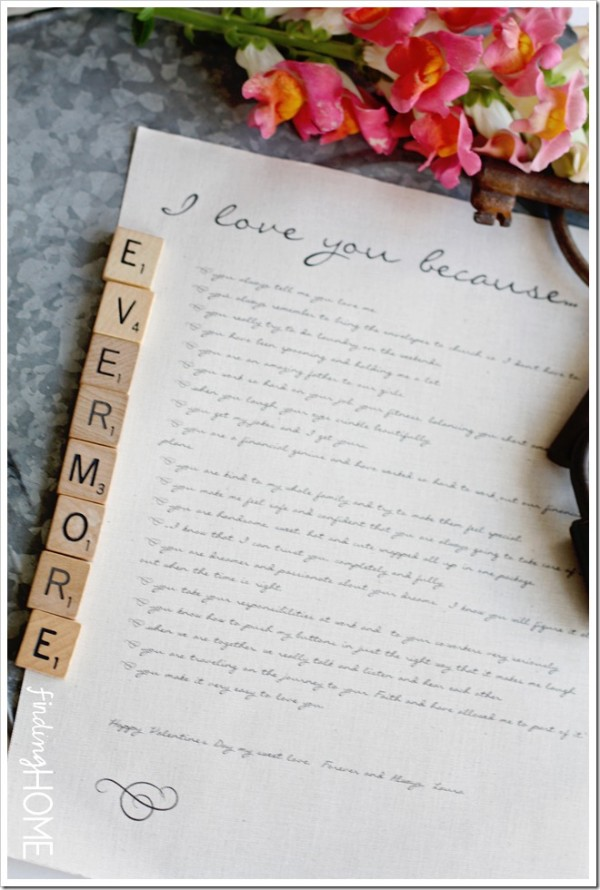 """Tell your husband how much you love him with an """"I love you because..."""" love letter"""