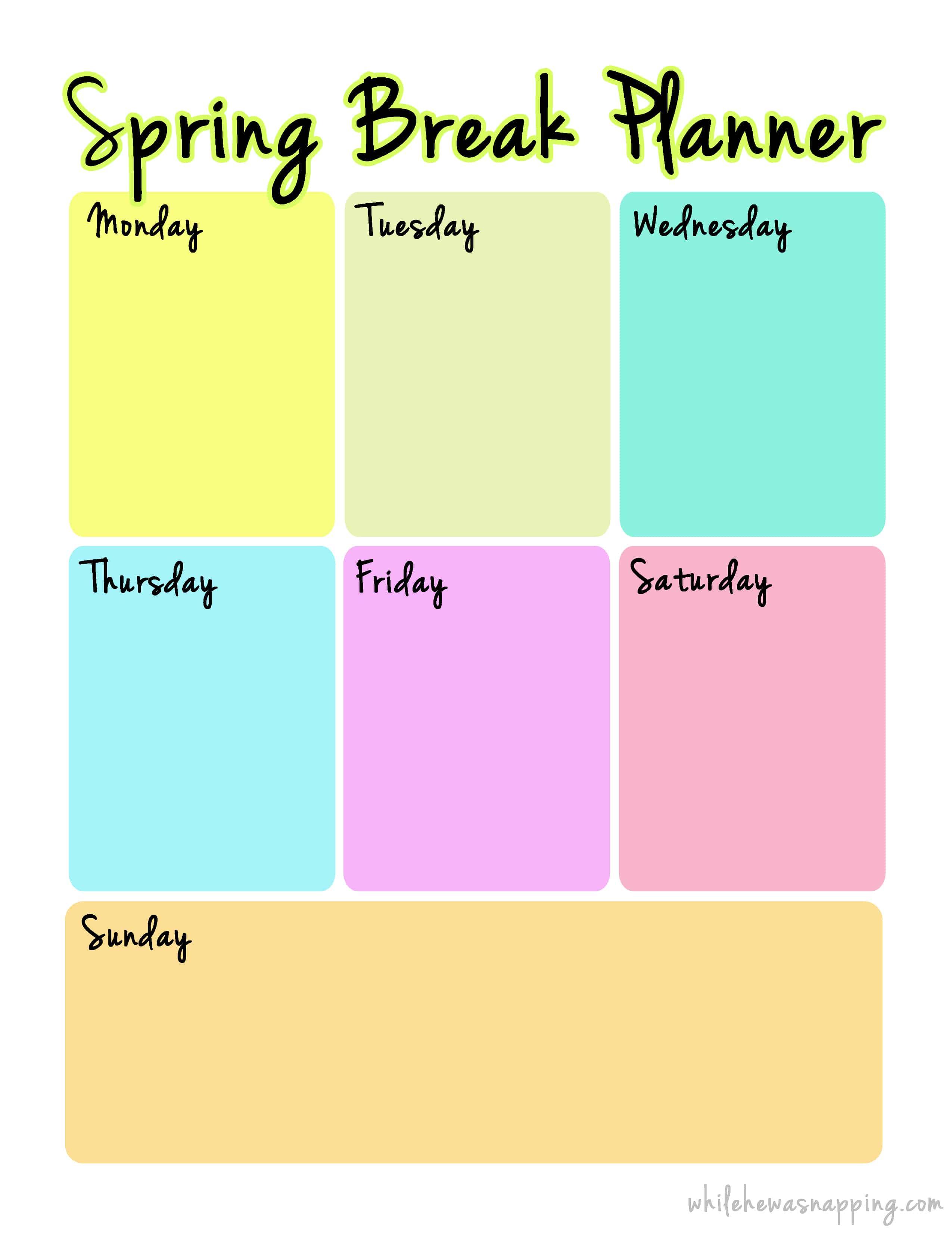 Spring Break Planner