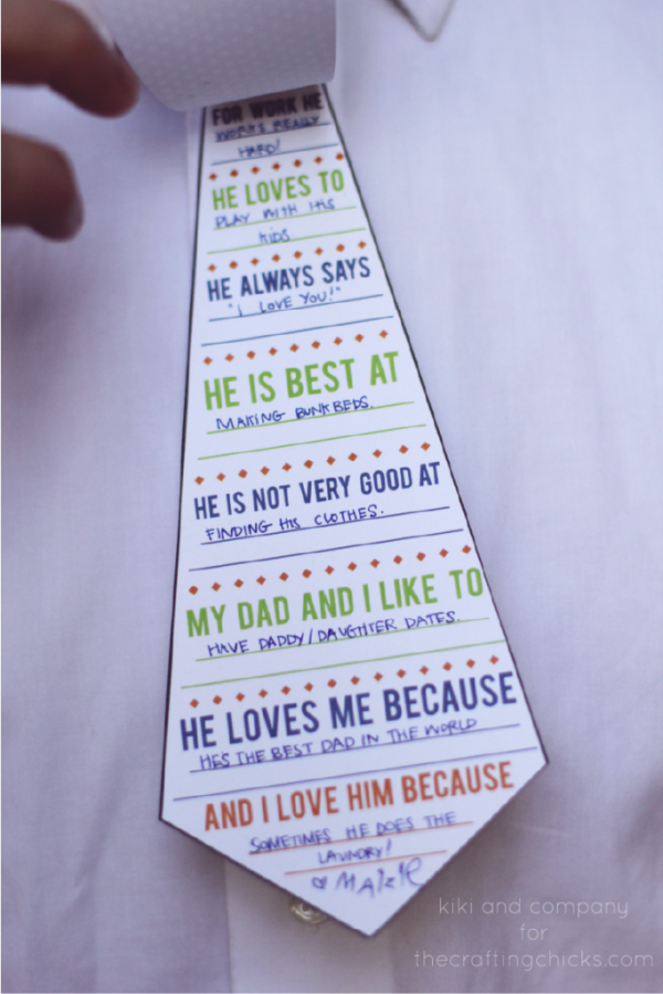 Printable Daddy Tie Card