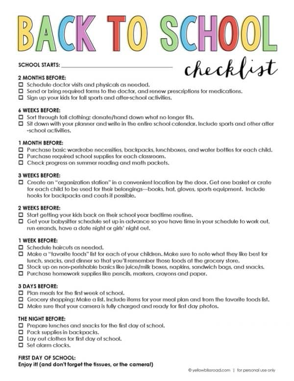 Back to school checklist from Yellow Bliss Road