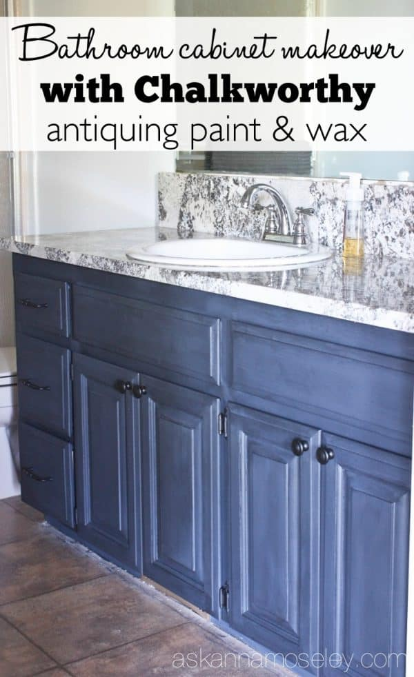 Bathroom Vanity Makeover With Chalkworthy Antiquing Paint   Ask Anna