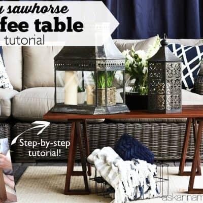 DIY Sawhorse Coffee Table
