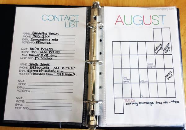 Printable calendar and contact list - Ask Anna