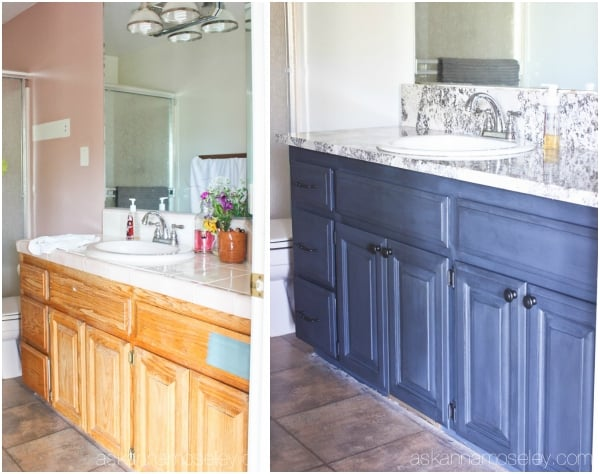Bathroom vanity makeover with Chalkworthy antiquing paint - Ask Anna & Painting Bathroom Cabinets with Chalkworthy - Ask Anna