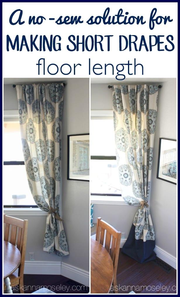 A No Sew Way To Make Short Drapes Floor Length Ask Anna