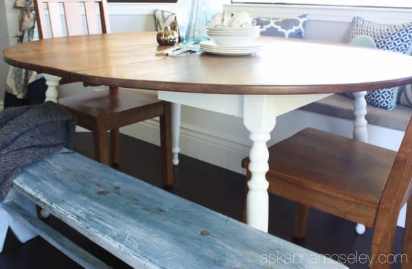 Breakfast nook table makeover - Ask Anna