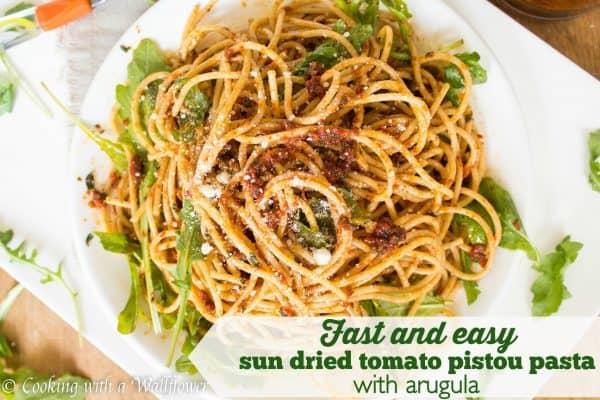 Quick and easy sun dried tomato Pistou pasta with arugula