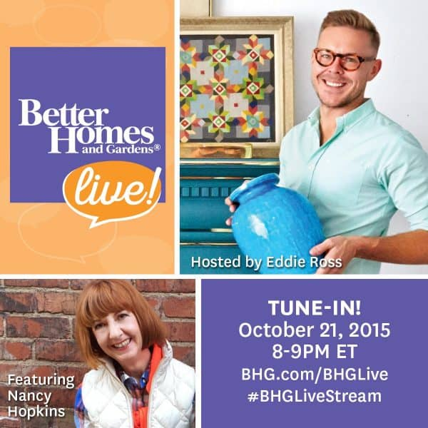 Tune in to BHG LIVE! Wednesday, October 21 from 8/7c