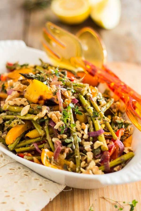 Oven roasted asparagus bell pepper salad, the perfect side dish for every Thanksgiving feast