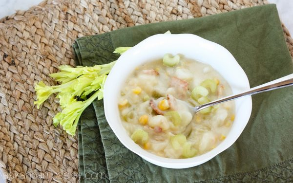 This is the best corn chowder you'll ever eat, and with only 5 main ingredients, it's also super easy to make. Creamy potatoes mixed with celery, onion, bacon and corn, it's the perfect fall or wintertime dinner! - Ask Anna