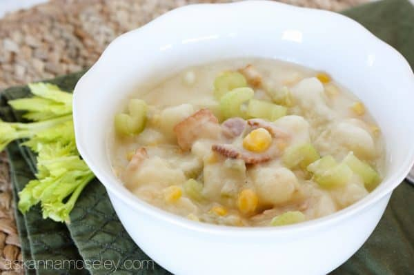 This is the best corn chowder you'll ever eat, and with only 5 main ingredients, it's also super easy to make. Creamy potatoes mixed with celery, onion, bacon and corn, it's the perfect fall or wintertime dinner!