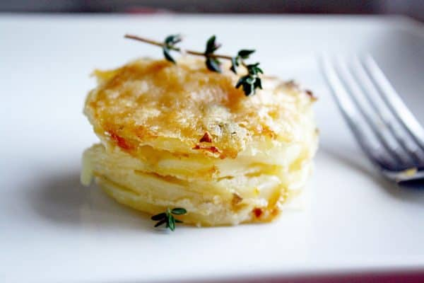 Parmesan stacked scallop potatoes, the perfect, easy side dish for every Thanksgiving dinner