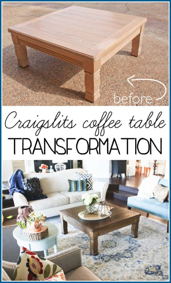 Coffee table makeover - I took an outdated, 80's style, Craigslist coffee table and turned it into a show piece in our living room - Ask Anna