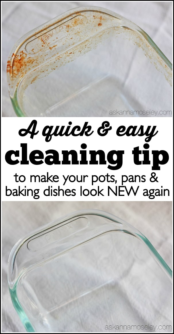 This is a really simple tip for how to clean baked-on grease off pots, pans & baking dishes. You will be AMAZED at how easy it is to get tough grease off with just a sponge and a little dish soap | Ask Anna