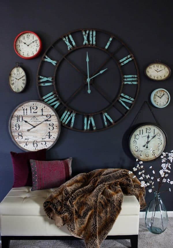 create a statement wall using clocks ask anna