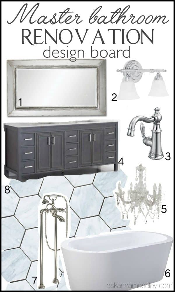 Master bathroom design board | Ask Anna