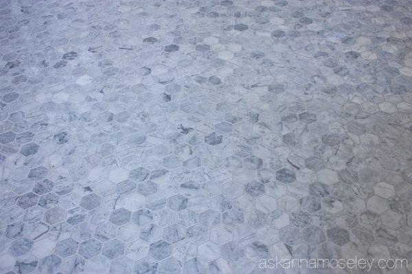 Carrara marble floors in the master bathroom | Ask Anna