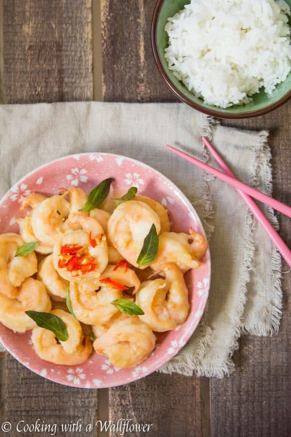 Jumbo shrimp tossed in a savory miso glaze. This miso glazed shrimp is delicious and perfect with rice for a quick and easy dinner | Cooking With a Wallflower