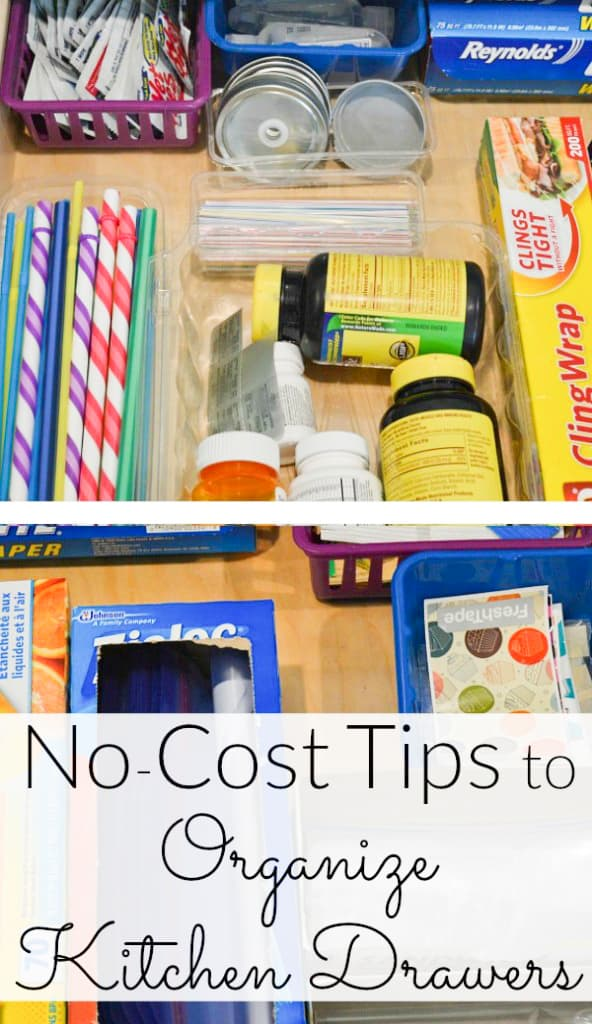 How to organize your kitchen drawers for no-cost using recycled items, or other items around the house | Organized 31 for Ask Anna